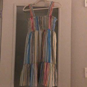 Aqua smocked rainbow dress